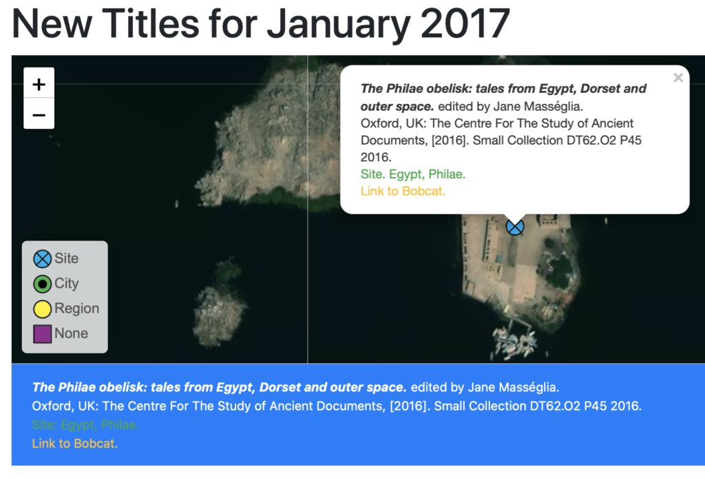 An image of the new map interface for ISAW New Titles, showing a book mapped to a temple site in Philae, Egypt